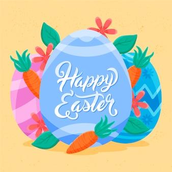 Joyeuses pâques dessinés à la main avec des œufs et des carottes