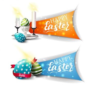 Joyeuses pâques deux bannières de salutations