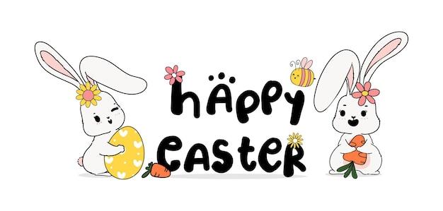 Joyeuses pâques avec deux lapins, fleurs et abeilles