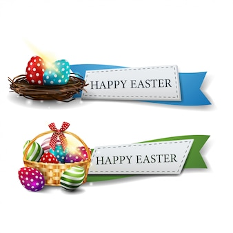 Joyeuses pâques deux rubans de salutations