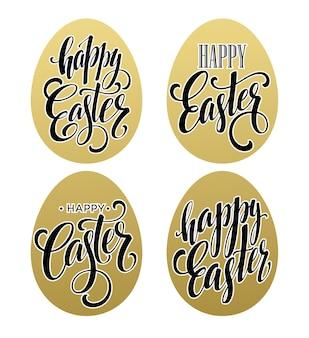 Joyeuses pâques. effet d'or d'oeuf de lettrage calligraphique.