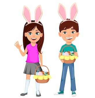 Joyeuses pâques. enfants portant des oreilles de lapin