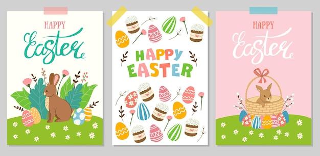 Joyeuses pâques! un ensemble d'illustrations vectorielles mignonnes avec des éléments de pâques pour une affiche, une carte postale, une invitation ou une bannière.