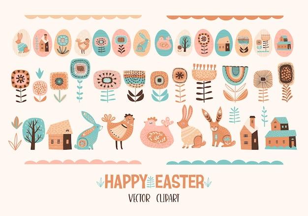 Joyeuses pâques. ensemble de poulet mignon, lapins, fleurs, œufs, maisons.
