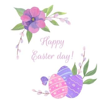 Joyeuses pâques avec des fleurs