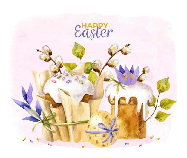 Joyeuses pâques fond avec des gâteaux de pâques, des oeufs et des phoques de saule