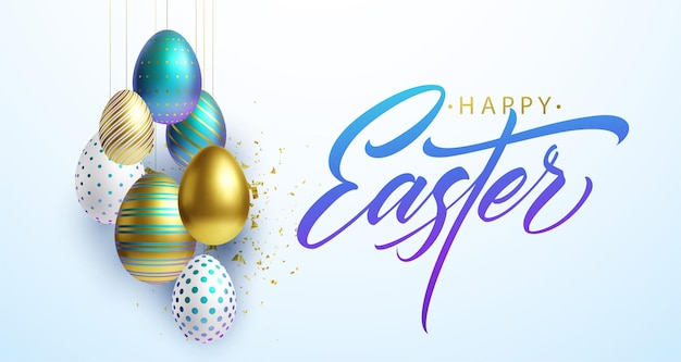 Joyeuses pâques fond de lettrage avec des oeufs décorés brillants d'or, blancs et bleus réalistes 3d, confettis. illustration vectorielle eps10