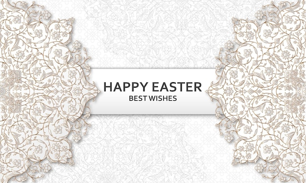 Joyeuses pâques fond avec motif floral arabesque bon modèle de conception
