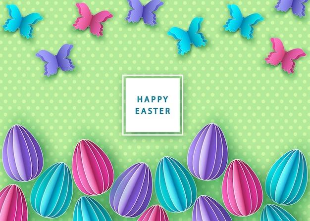 Joyeuses pâques fond avec des oeufs colorés en papier et papillon