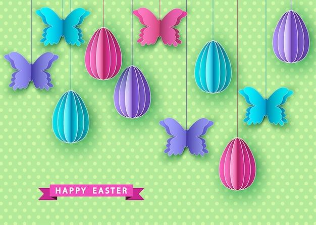 Joyeuses pâques fond avec des oeufs de papercut suspendus et papillon