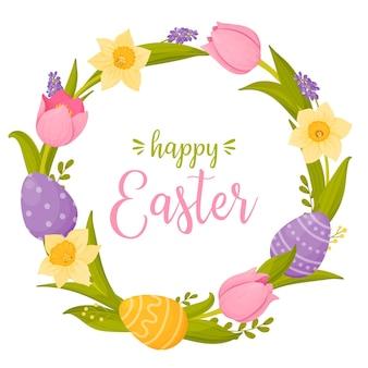 Joyeuses pâques avec une guirlande lumineuse de fleurs de printemps