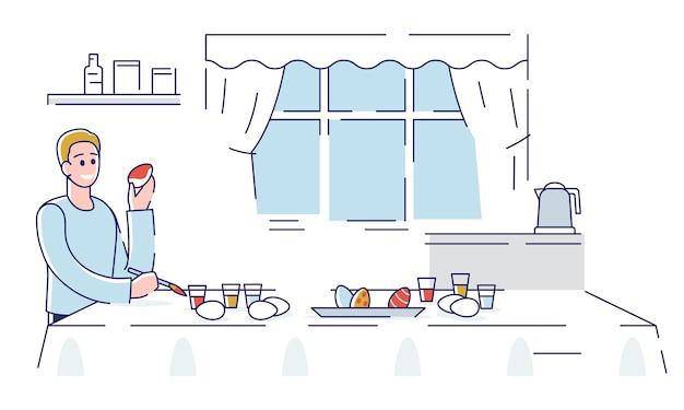 Joyeuses pâques. happy boy décoration des oeufs de pâques à la maison. l'homme se prépare pour les vacances. plat linéaire de contour de dessin animé.