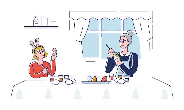 Joyeuses pâques. heureuse mère décorant des œufs de pâques avec sa fille à la maison. les gens se préparent pour les vacances. plat linéaire de contour de dessin animé.