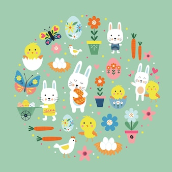Joyeuses pâques illustration colorée avec lapin mignon, oeuf, fleur, branche, poulet
