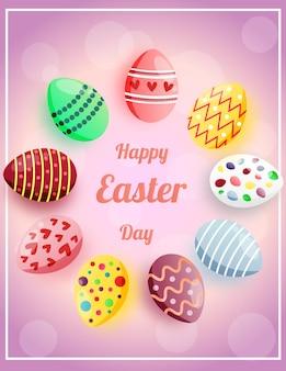 Joyeuses pâques illustration avec des oeufs de pâques mignons colorés