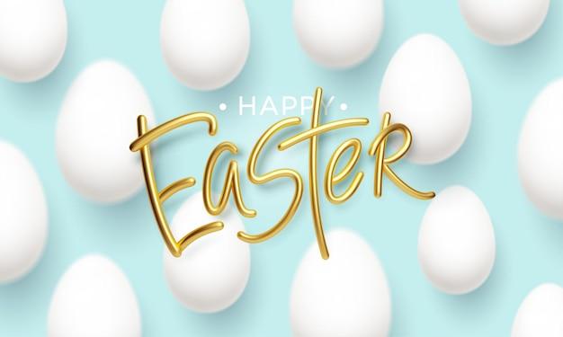 Joyeuses pâques inscription dorée sur fond bleu avec des oeufs de pâques blancs réalistes. illustration vectorielle eps10