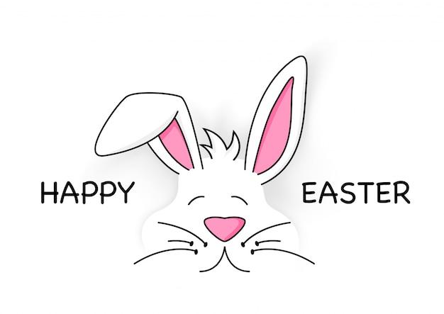 Joyeuses pâques avec un lapin blanc mignon