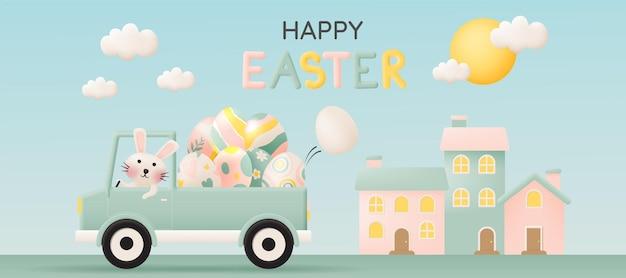 Joyeuses pâques avec lapin mignon conduisant une voiture et beaucoup d'oeufs de pâques en illustration de style art papier 3d couleur pastel