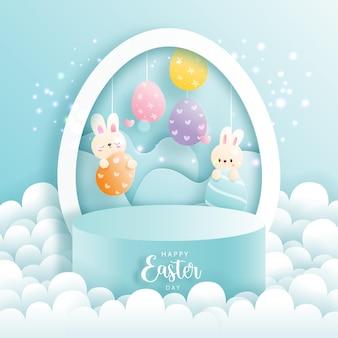 Joyeuses pâques avec lapin mignon et podium rond pour l'affichage des produits