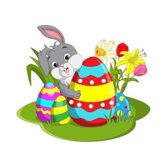 Joyeuses pâques. lapin de pâques mignon assis dans un panier