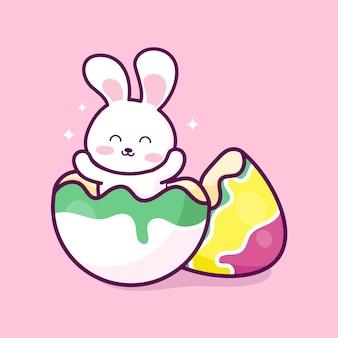 Joyeuses pâques lapin de pâques et oeuf de pâques