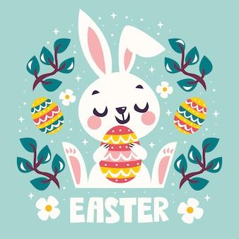 Joyeuses pâques avec lapin tenant un œuf coloré