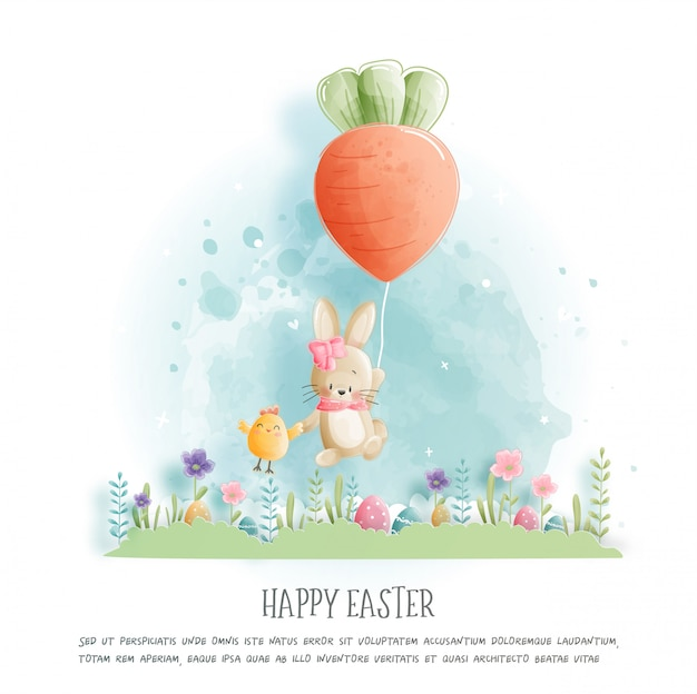 Joyeuses pâques avec des lapins mignons et des œufs d'ester en illustration de style papier découpé.