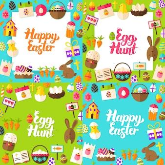 Joyeuses pâques lettrage cartes postales. illustration vectorielle concept de voeux de printemps de style plat avec calligraphie.