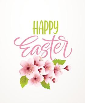 Joyeuses pâques lettrage d'écriture sur fond avec branche de cerisier de printemps en fleurs. illustration vectorielle eps10