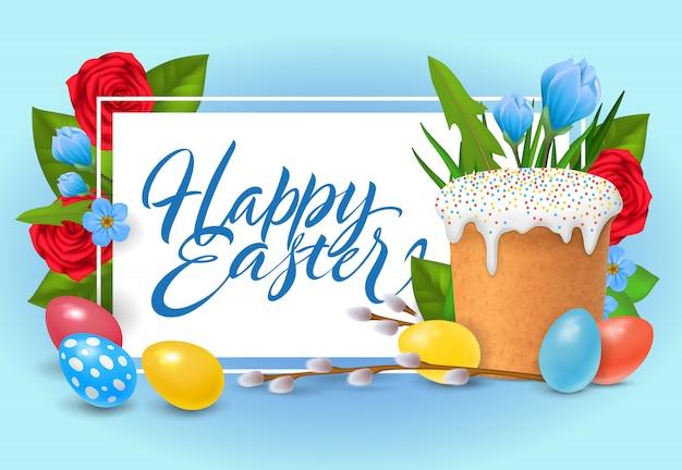 Joyeuses pâques lettrage. inscription célébration religieuse avec des oeufs colorés