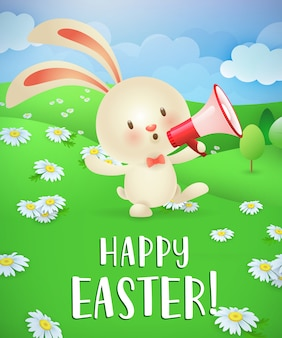 Joyeuses pâques, lettrage, lapin avec mégaphone et paysage