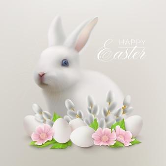 Joyeuses pâques avec le lièvre blanc assis derrière un arrangement floral avec des oeufs de pâques et des branches de saule chatte