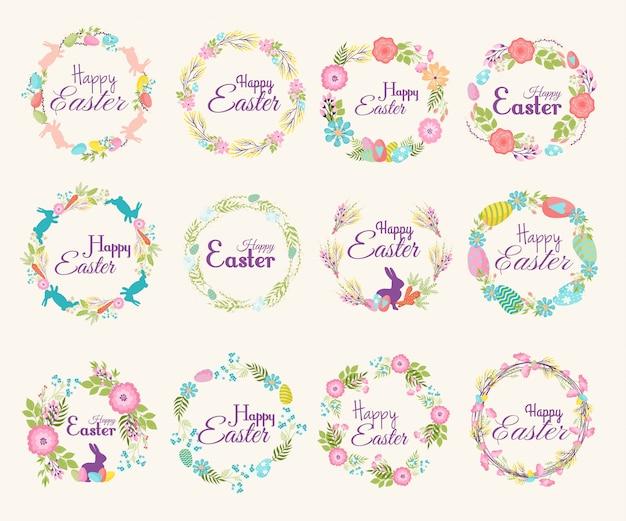 Joyeuses pâques logo citation texte branche de fleur et illustration de printemps éléments de décoration traditionnelle insigne lettrage salutation pâques célébrer carte et couronne naturelle fleur de printemps
