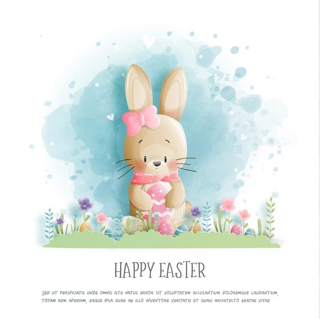 Joyeuses pâques avec mignon lapin et oeufs de pâques en illustration de style papier découpé.