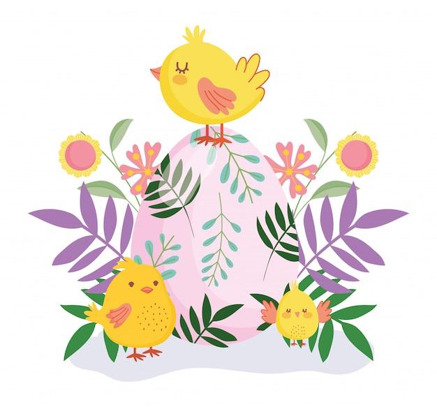 Joyeuses pâques mignons poulets colorés oeuf fleurs feuillage nature