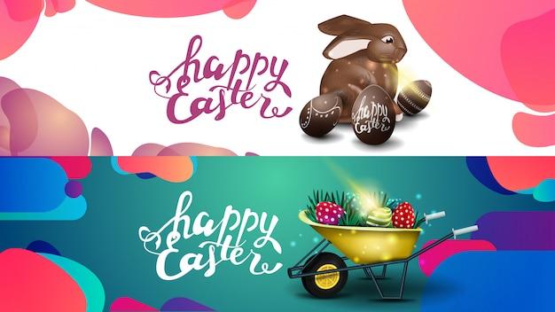 Joyeuses pâques, modèle horizontal à deux couleurs fluides pour site web