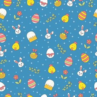 Joyeuses pâques modèle sans couture avec lapin, gâteau, oeuf, fleur, branche, poulet sur fond bleu. salutation, papier d'emballage cadeau et papier peint.