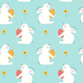 Joyeuses pâques modèle sans couture avec lapin