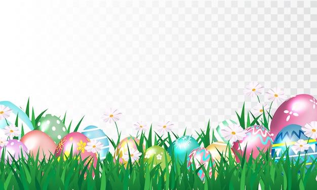 Joyeuses pâques, oeufs décorés brillants