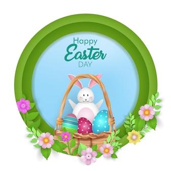 Joyeuses pâques avec des œufs, un lapin mignon et des fleurs.
