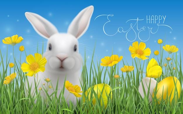Joyeuses pâques avec des oeufs de pâques, fleurs jaunes, lapin blanc assis dans l'herbe