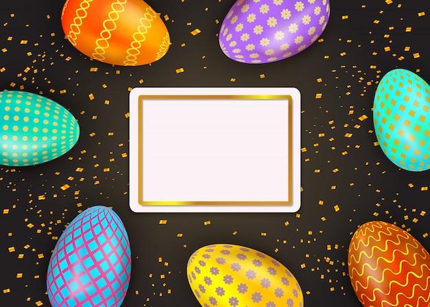 Joyeuses pâques oeufs peints colorés sur fond noir avec cadre doré et confettis