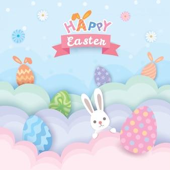Joyeuses pâques avec des oeufs peints et un lapin mignon.