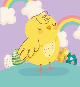 Joyeuses pâques petit poulet arcs-en-ciel oeufs décoration nuages