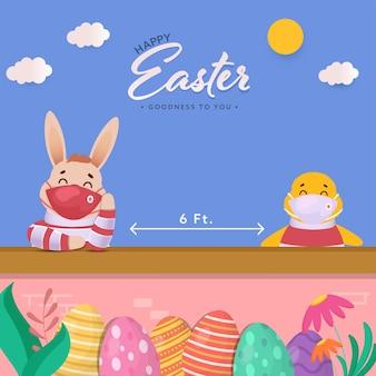 Joyeuses pâques avec poussin et lapin en masque