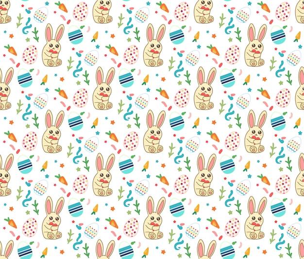 Joyeuses pâques seamless pattern avec lapin mignon et oeufs