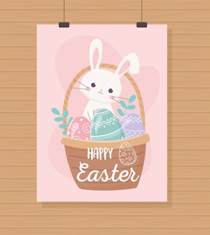 Joyeuses pâques suspendus mignon panier de lapin avec des oeufs, carte de voeux