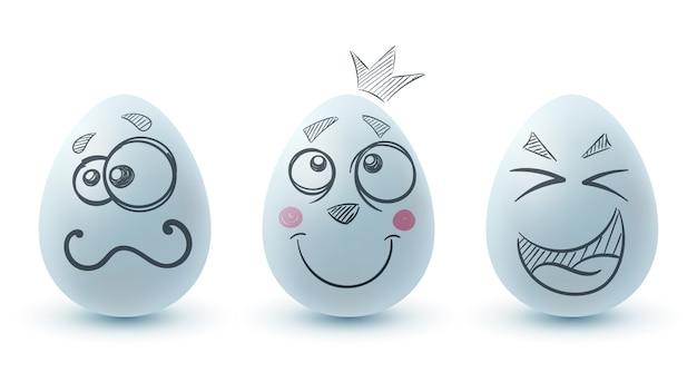 Joyeuses pâques. trois oeufs