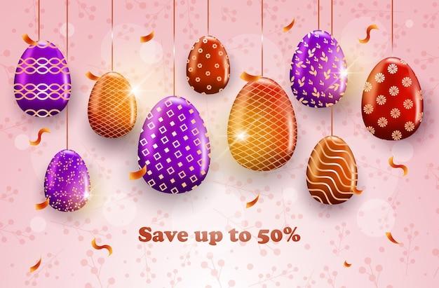 Joyeuses pâques vacances célébration vente bannière flyer ou carte de voeux avec illustration horizontale des oeufs décoratifs