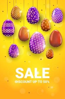 Joyeuses pâques vacances célébration vente bannière flyer ou carte de voeux avec illustration verticale des oeufs décoratifs